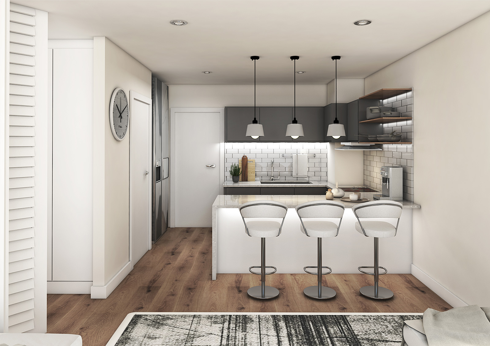 Just Invest, one-on-whiteley, unit-a, kitchen-view