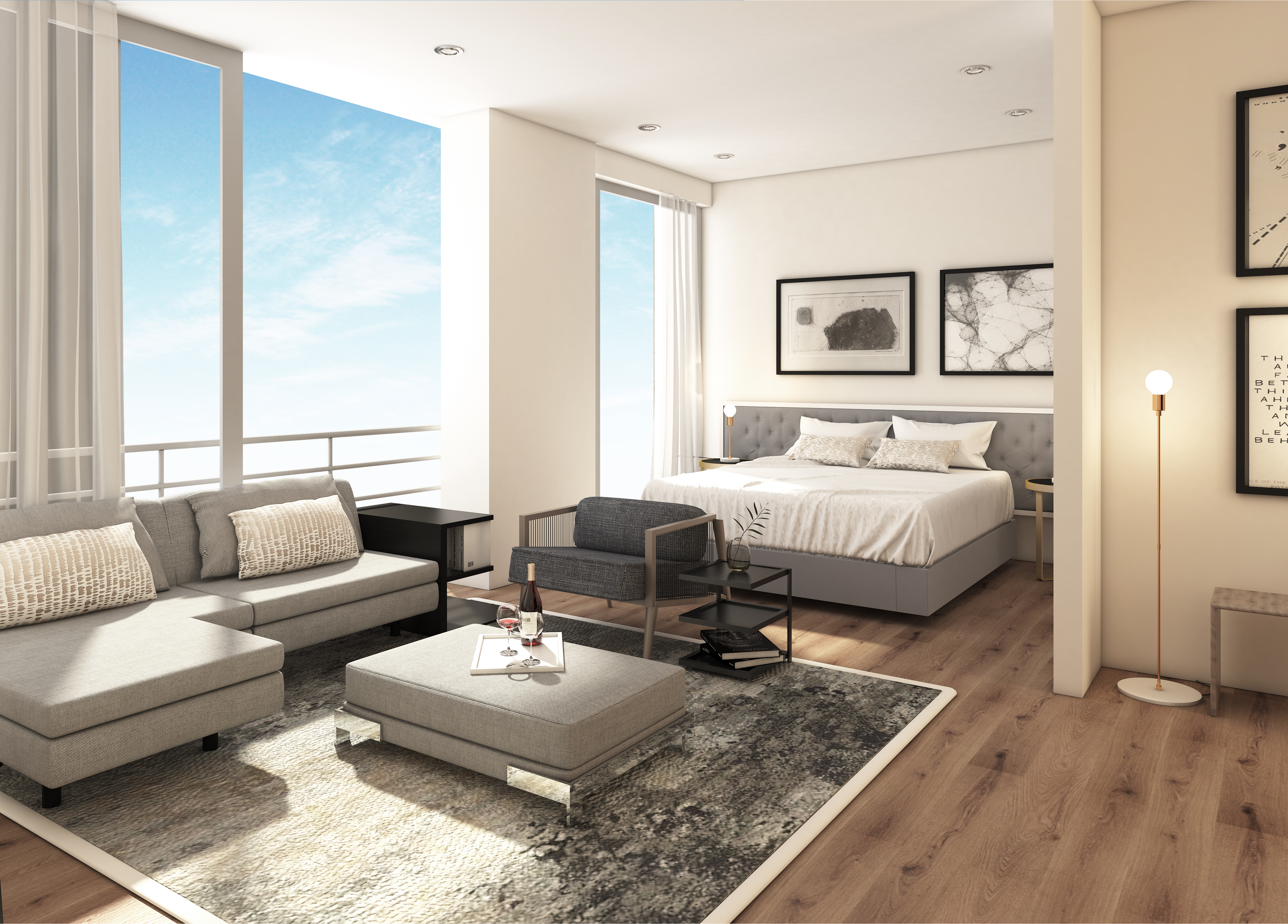 Just Invest, one-on-whiteley, unit-b, living-bedroom-view