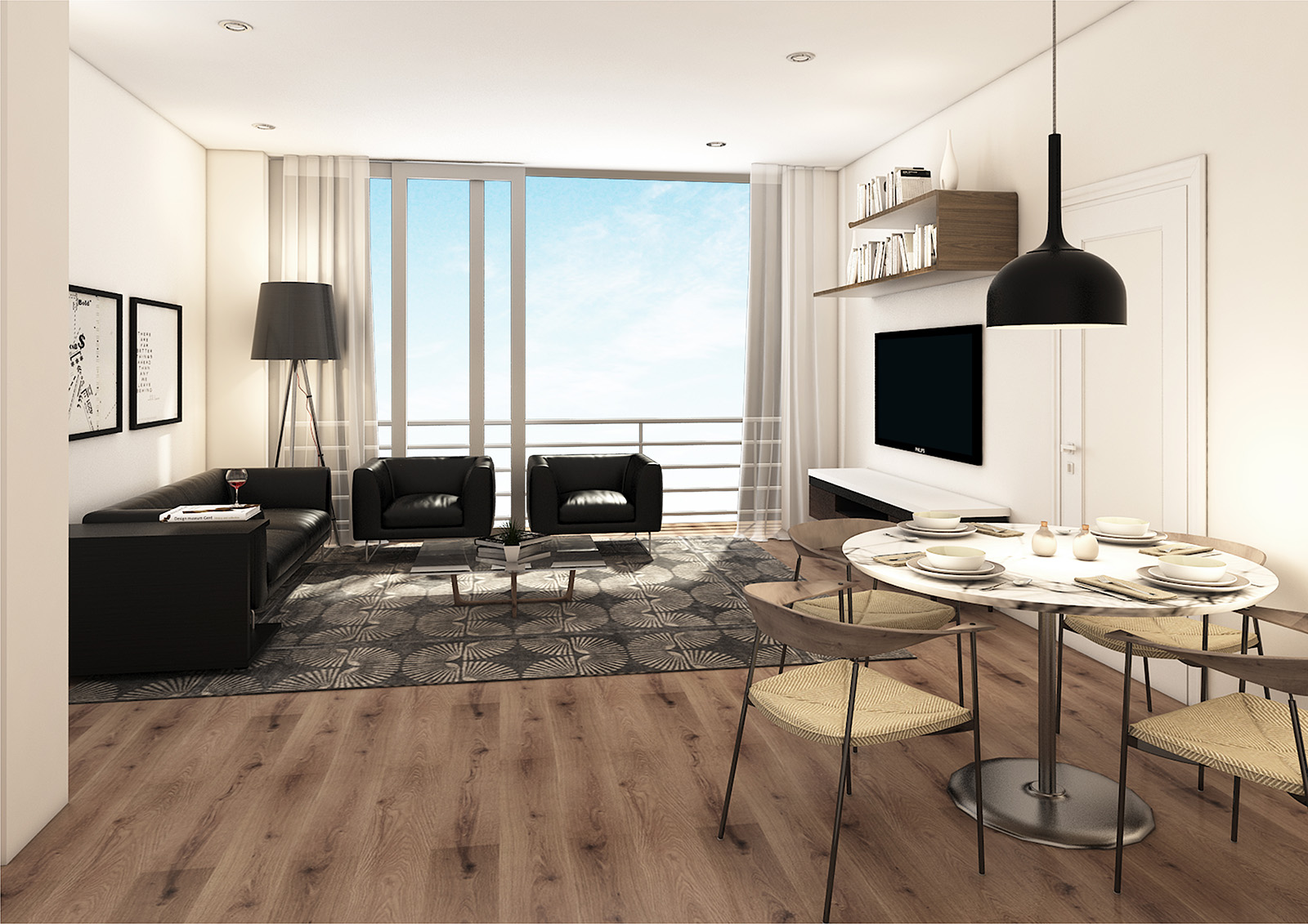 Just Invest, one-on-whiteley, unit-e, dining-living-viewa